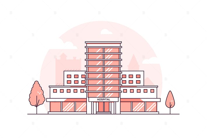 Thumbnail for Hospital building - line design style illustration