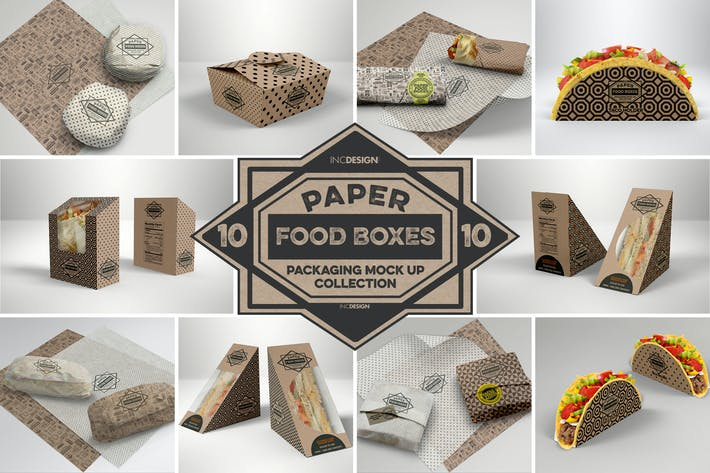 Paper Food Packaging Mockups Vol 10 by ina717 on Envato Elements