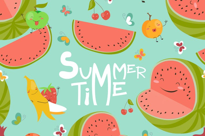 Thumbnail for Vector seamless pattern with cute summer fruits