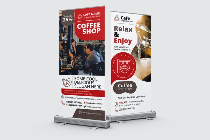 Coffee Shop Roll-Up Banner