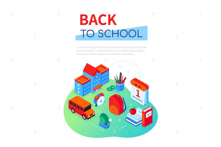 Thumbnail for Back to school - colorful isometric web banner