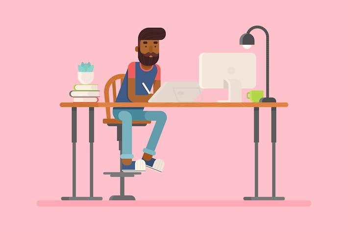 Flat Hipster Designer Charakter und Arbeitsbereich Set