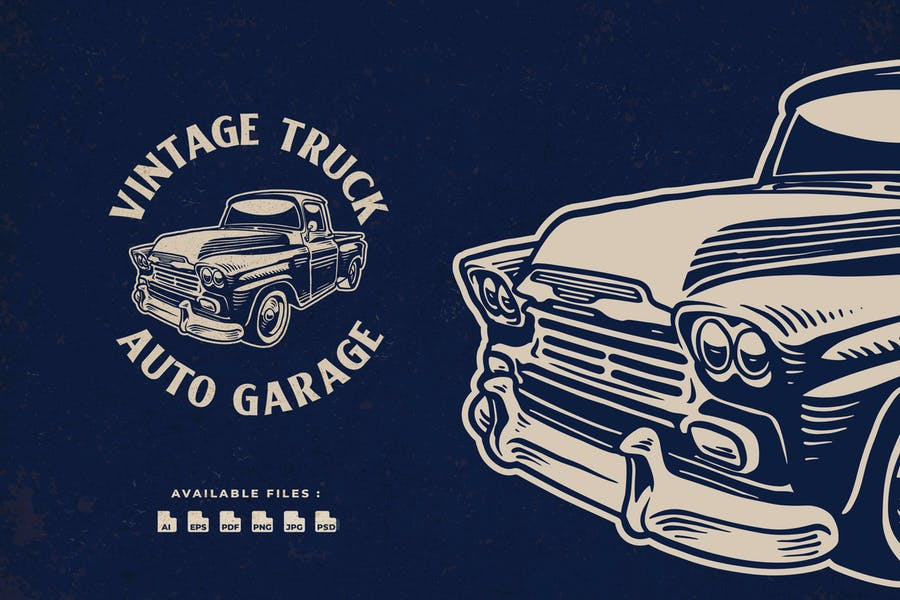Vintage Truck Retro Badge Handdrawn Logo