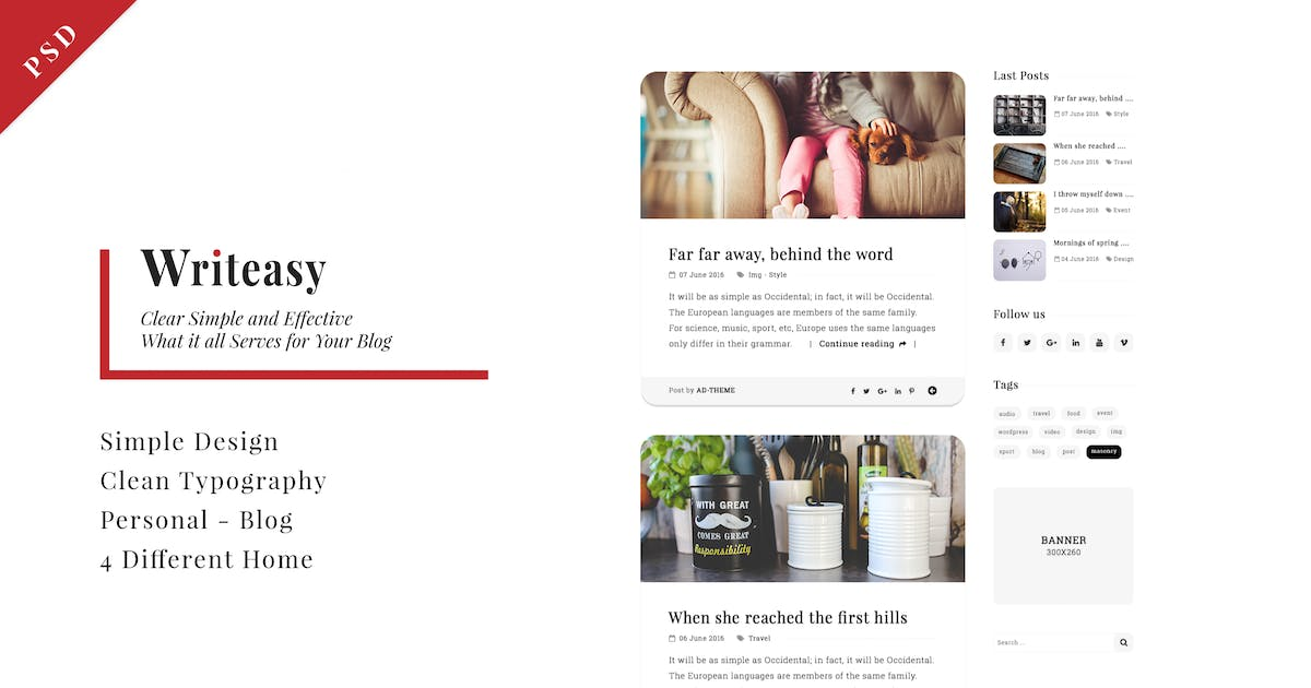 Download Writeasy Blog - Personal PSD Blog for Writing by Unknow