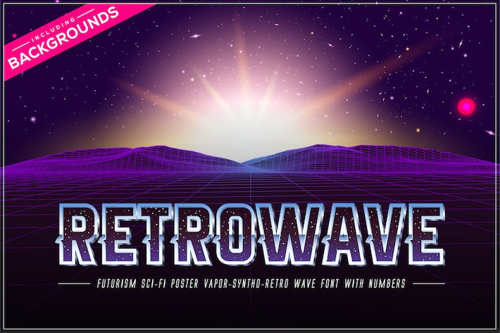 Thumbnail for Retrowave Space OTF Vaporwave Font + Backgrounds