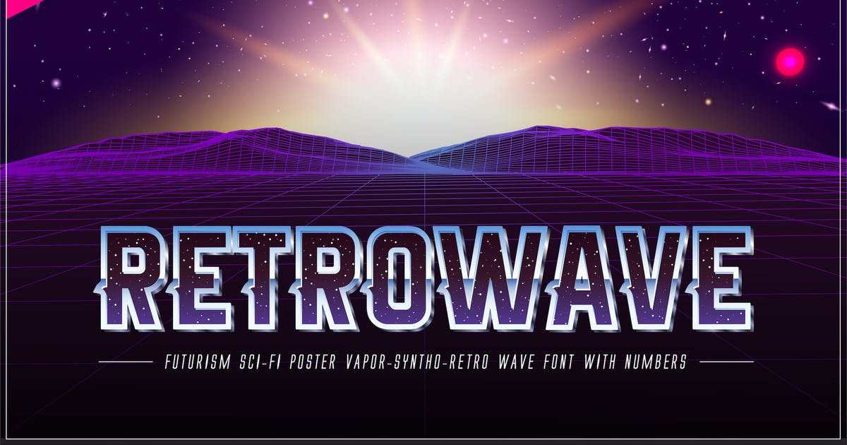Download Retrowave Space OTF Vaporwave Font + Backgrounds by CkyBe