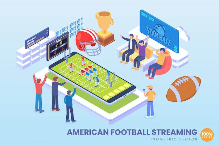 Thumbnail for Isometric American Football Streaming Vector