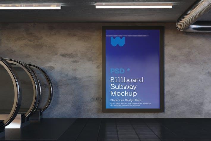 Vertikale U-Bahn-Anzeigen-Mockup