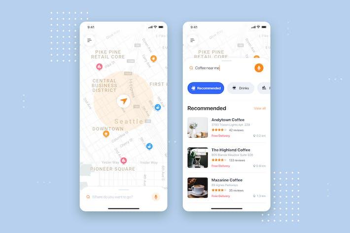 Thumbnail for Доставка еды Мобильное Приложение UI Kit Шаблон