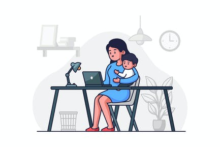 Woman Working With Baby Illustration