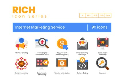 90 Internet Marketing Service Icons - Rich Series