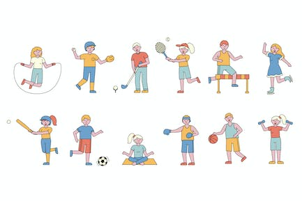 Sportsmen Lineart People Character Collection
