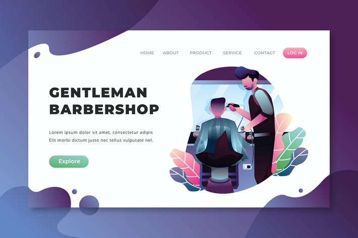 Thumbnail for Gentleman Barbershop - PSD AI Vector Landing Page
