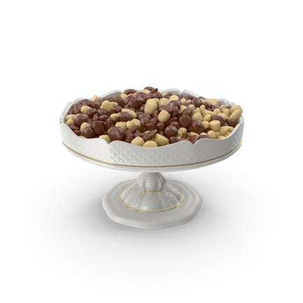 Fancy Porcelain Bowl with Almond Mixed Chocolate Candy