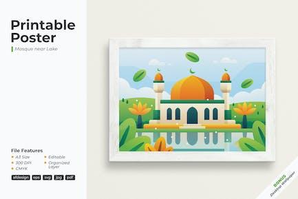 Mosque near Lake - Printable Poster