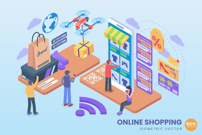 Thumbnail for Изометрическая концепция Вектор онлайн-покупок