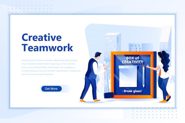 Thumbnail for Creative Teamwork Flat Landing Page Header