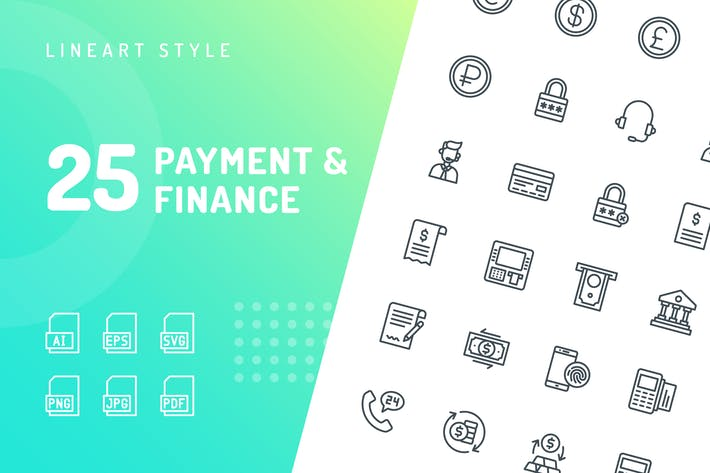 Thumbnail for Payment & Finance Line Icons