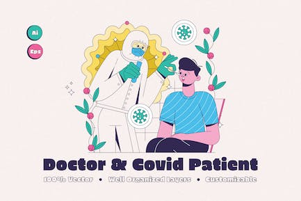 Doctor with Covid Patient Illustration