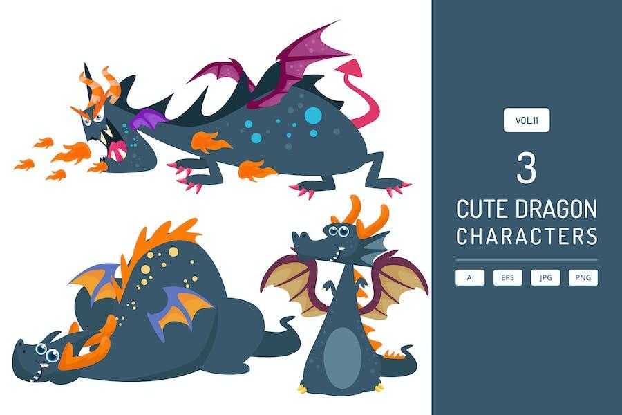 Cute Dragon Characters Vol.11