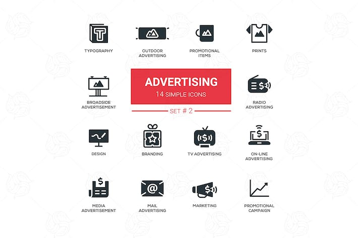 Cover Image For Advertising - modern simple icons, pictograms set