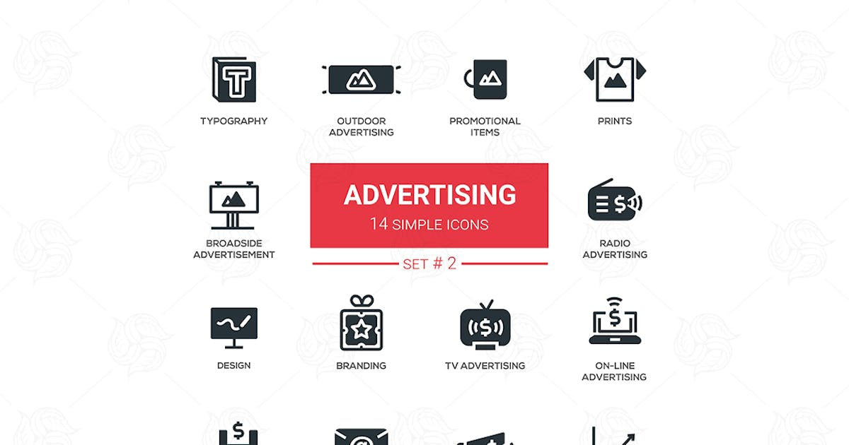 Download Advertising - modern simple icons, pictograms set by BoykoPictures