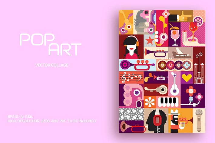 Thumbnail for Pop Art style musical theme vector illustration