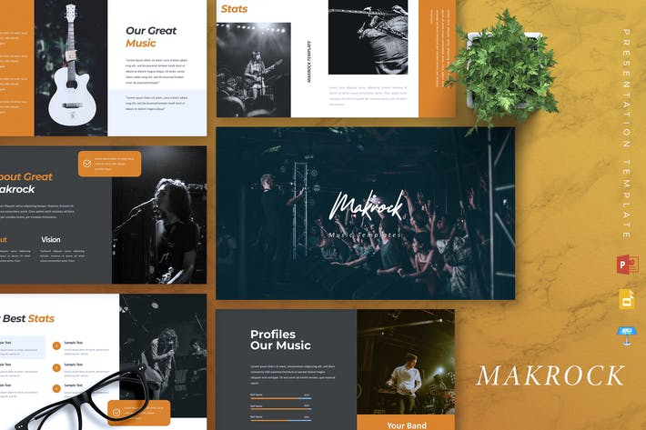 Cover Image For MAKROCK - Music Powerpoint Template