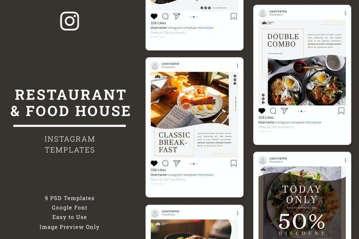 Cover Image For Restaurant Instagram Post Template