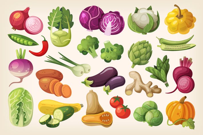 Cover Image For Vegetables Icons Set