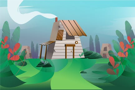 House On The Field - Illustration Background