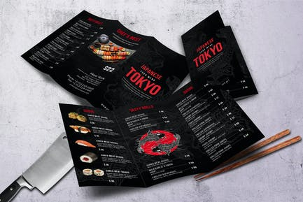 Japanese A4& US Letter Trifold Food Menu