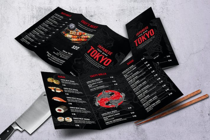 Thumbnail for Japanese A4& US Letter Trifold Food Menu