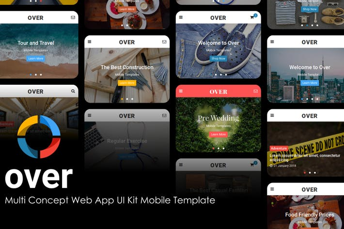 Thumbnail for Over - MultiConcept Web App UI Kit Mobile Template