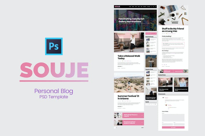 Thumbnail for Souje - Personal Blog PSD Template