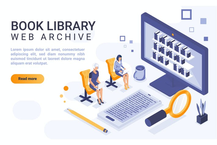 Thumbnail for Book Library Isometric Header Flat Concept