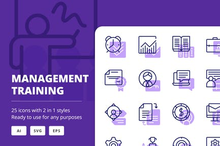 Íconos de formación de gestión (línea y sólido)