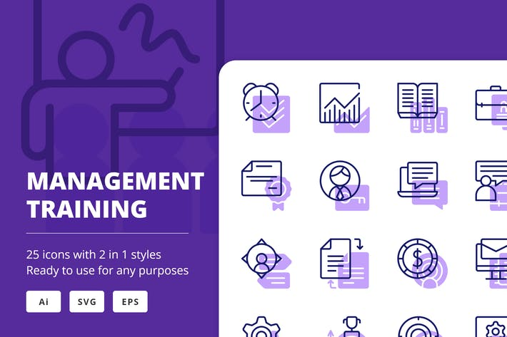 Thumbnail for Management Training Icons (Line and Solid)