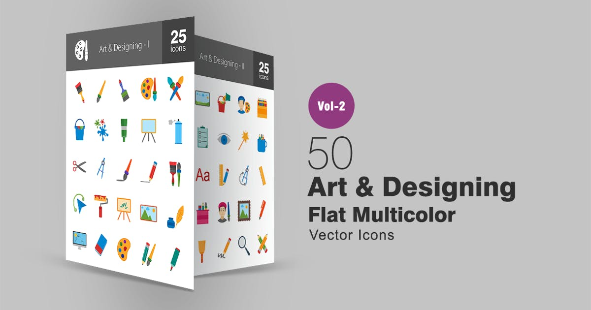 Download 50 Art & Designing Flat Multicolor Icons by IconBunny
