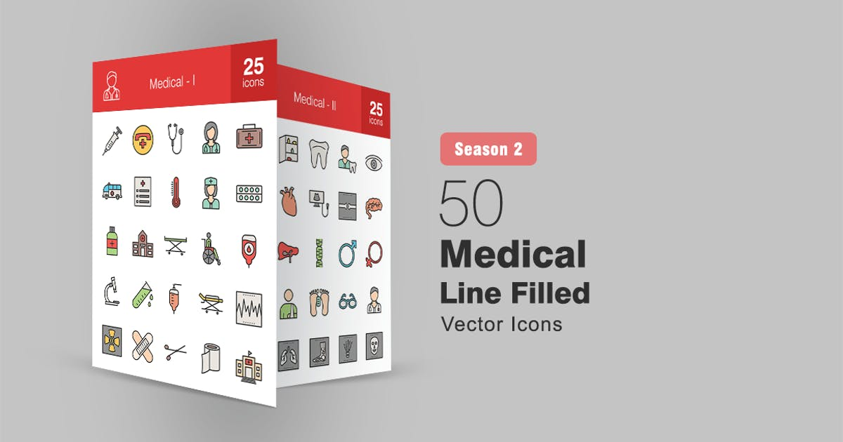 Download 50 Medical Filled Line Icons Season II by IconBunny
