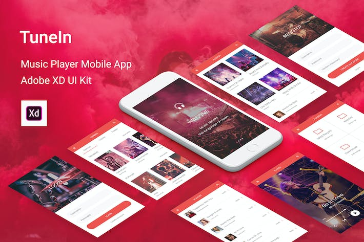 Thumbnail for TuneIn - Music Player Mobile App for Adobe XD