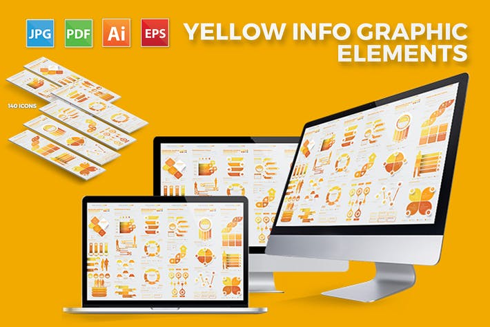 Thumbnail for Yellow Infographics Elements