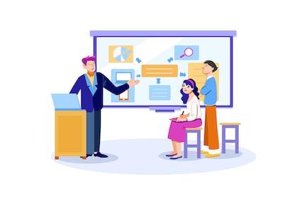 Digital Marketing Team Presentation Illustration