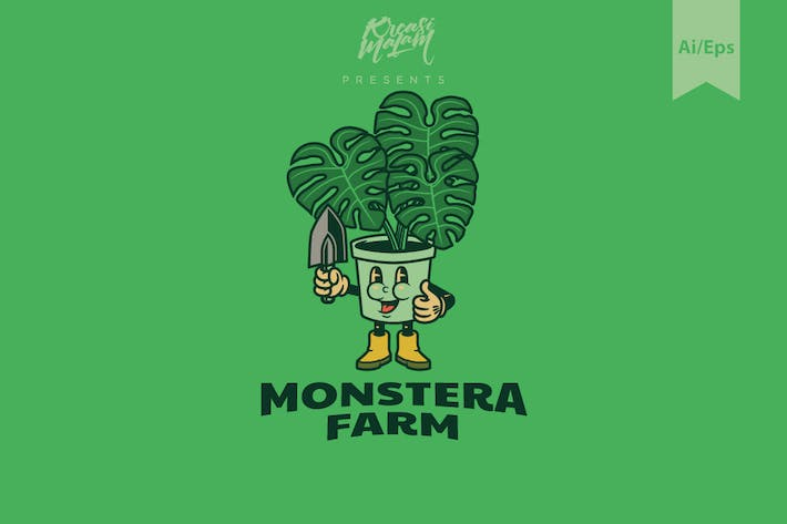 Monstera Farm Logo Template