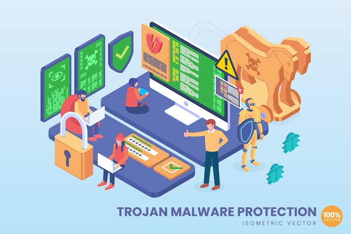 Thumbnail for Isometric Trojan Malware Protection Vector Concept