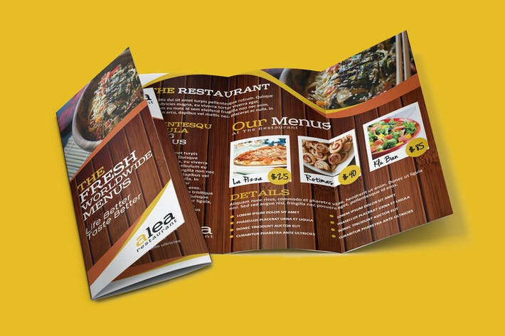 Cover Image For Alea Restaurant Trifold Brochure Template