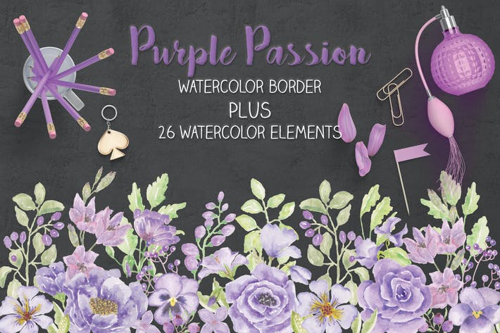 Thumbnail for Purple Watercolor Floral Border Plus Elements
