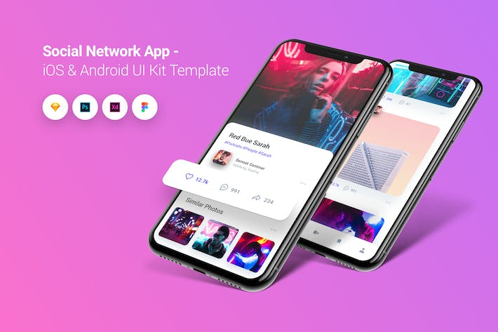 Thumbnail for Social Network App iOS & Android UI Kit Template