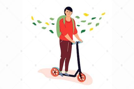Teenager riding a kick scooter flat illustration