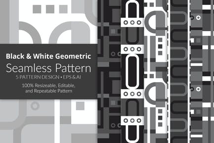 Black & White Geometric Seamless Pattern